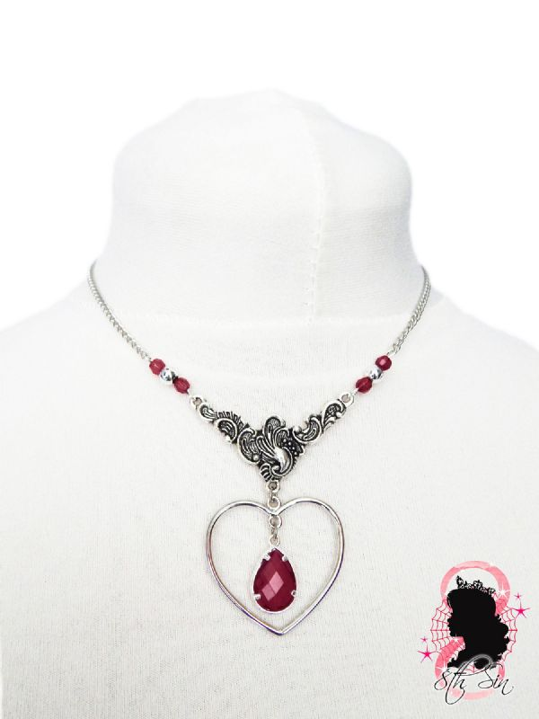 Antique Silver and Amethyst Heart Necklace